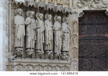 PARIS, FRANCE - MAY 1Ю3 2015: These are figures near one of the portals of Notre Dame de Paris.