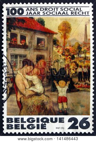 BELGIUM - CIRCA 1987: a stamp printed in the Belgium shows Leisure Painting by Pierre Paulus Belgian Painter Centenary of the Belgian Social Reform circa 1987