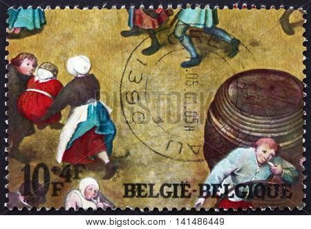 BELGIUM - CIRCA 1967: a stamp printed in the Belgium shows Detail from Childrens Games, Painting by Pieter Brueghel the Elder, Netherlandish Painter, circa 1967