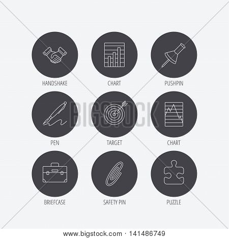 Handshake, graph charts and target icons. Puzzle, pushpin and safety pin linear signs. Briefcase and pen flat line icons. Linear icons in circle buttons. Flat web symbols. Vector