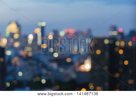 Abstract background, blurred lights night view city downtown