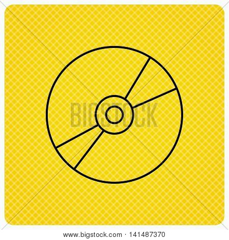CD or DVD icon. Multimedia sign. Linear icon on orange background. Vector