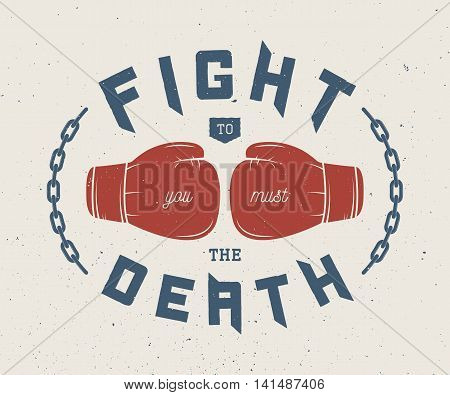 Boxing and martial arts logo badge or label in vintage style. Vector illustration. Graphic Art
