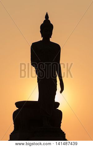 Silhouette Buddha with sun light background, shadow photography Buddha images