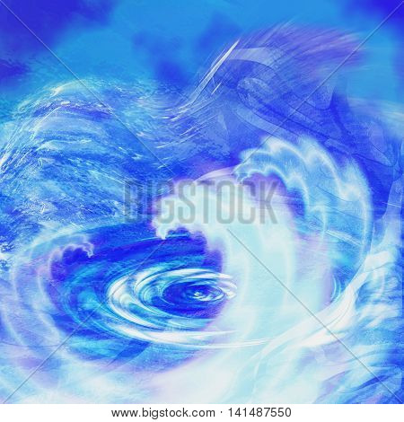Abstract blue background resembling sea with turbulent waves. Rippling water vortex with waves and spirals
