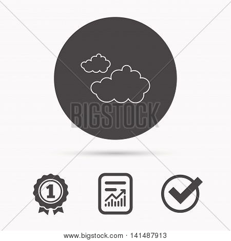Cloudy icon. Overcast weather sign. Meteorology symbol. Report document, winner award and tick. Round circle button with icon. Vector