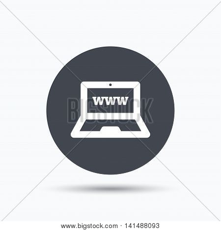 Computer icon. Notebook or laptop pc symbol. Flat web button with icon on white background. Gray round pressbutton with shadow. Vector