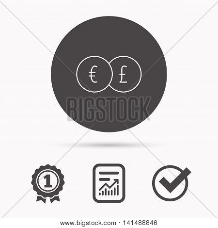 Currency exchange icon. Banking transfer sign. Euro to Pound symbol. Report document, winner award and tick. Round circle button with icon. Vector