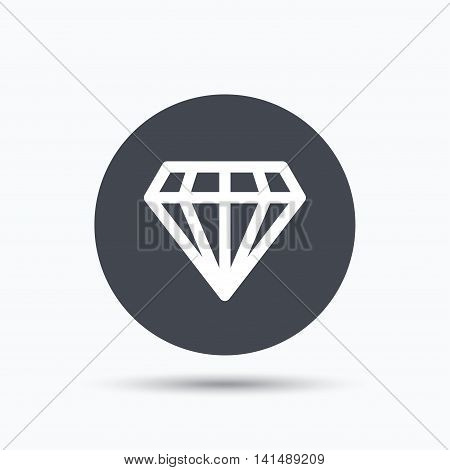 Diamond icon. Jewelry gem symbol. Brilliant jewel sign. Flat web button with icon on white background. Gray round pressbutton with shadow. Vector