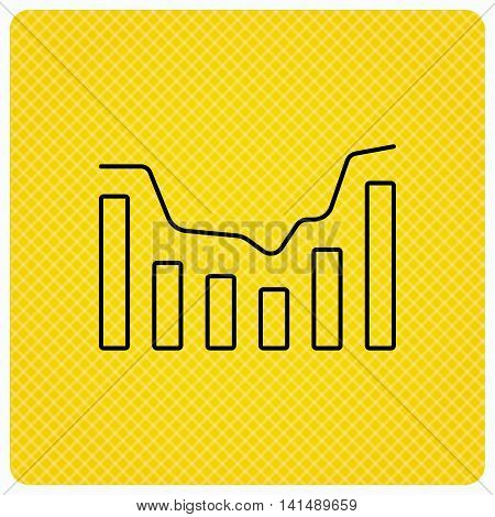 Dynamics icon. Statistic chart sign. Growth infochart symbol. Linear icon on orange background. Vector