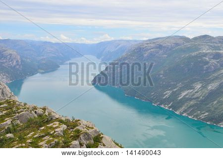 View of Lysefjord from the Pulpit rock Norway.