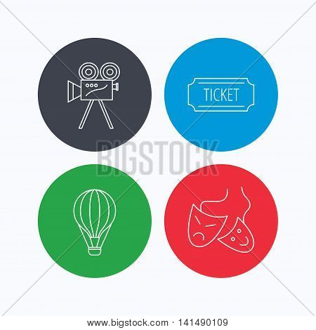 Video camera, ticket and theatre masks icons. Air balloon linear sign. Linear icons on colored buttons. Flat web symbols. Vector