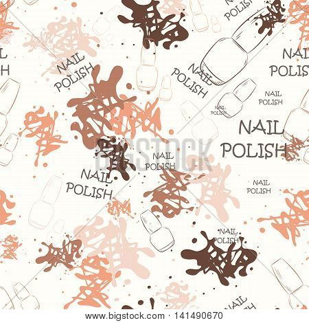 Seamless pattern with nail varnish for text and spilled paint. Fashion illustration