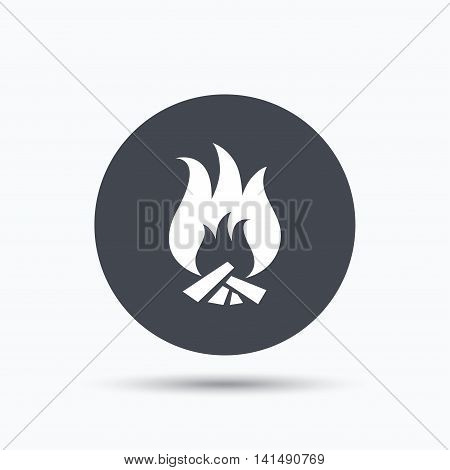Fire icon. Blazing bonfire flame symbol. Flat web button with icon on white background. Gray round pressbutton with shadow. Vector