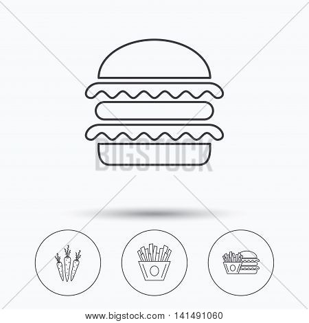 Hamburger, carrot and chips icons. Burger and chips fries linear signs. Linear icons in circle buttons. Flat web symbols. Vector
