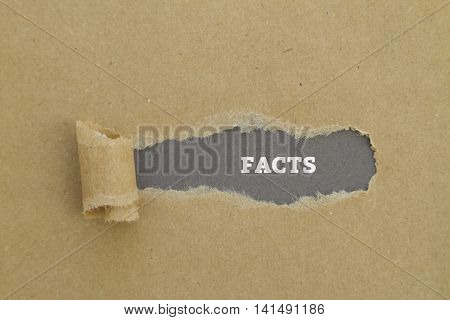 facts word written under torn paper concept .
