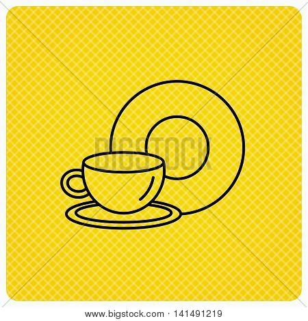 Coffee cup icon. Food and drink sign. Linear icon on orange background. Vector
