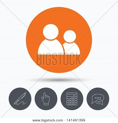 Friends icon. Group of people sign. Communication symbol. Speech bubbles. Pen, hand click and chart. Orange circle button with icon. Vector