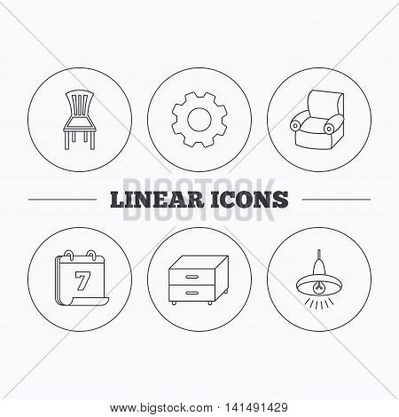 Ceiling lamp, nightstand and armchair icons. Chair linear sign. Flat cogwheel and calendar symbols. Linear icons in circle buttons. Vector