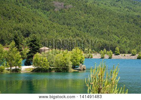 View of lake Doxa in Peloponnese Greece.