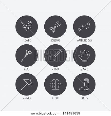 Scissors, hammer and gloves icons. Shovel, watering can and rake linear signs. Cloak, boots and flower flat line icons. Linear icons in circle buttons. Flat web symbols. Vector