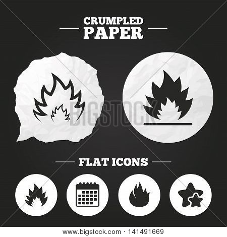 Crumpled paper speech bubble. Fire flame icons. Heat symbols. Inflammable signs. Paper button. Vector