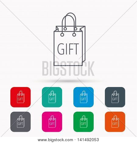 Gift shopping bag icon. Present handbag sign. Linear icons in squares on white background. Flat web symbols. Vector