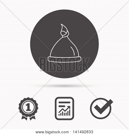 Baby hat icon. Newborn cap sign. Toddler sleeping clothes symbol. Report document, winner award and tick. Round circle button with icon. Vector