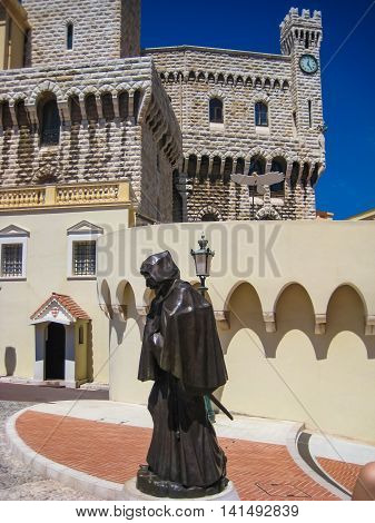 Statue Of Francesco Grimaldi In Front Of Palace Of Monaco