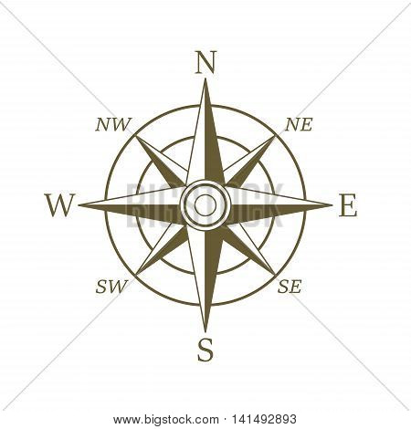 Compass icon in sepia color. Wind rose.