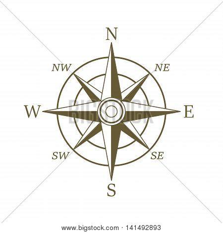 Compass icon in sepia color. Wind rose.