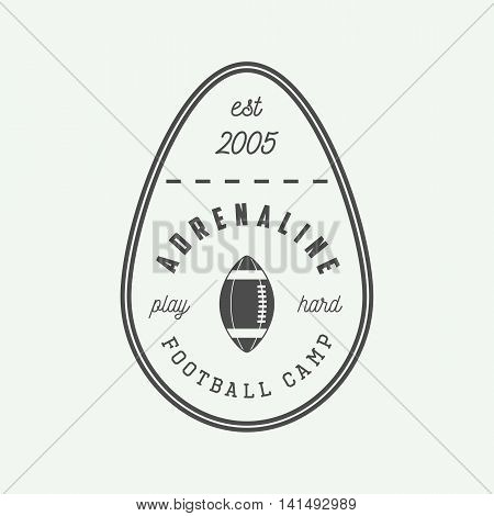 Vintage rugby and american football labels emblems and logo. Vector illustration. Graphic Art