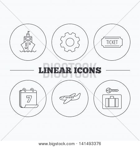 Ticket, cruise ship and airplane icons. Luggage security linear sign. Flat cogwheel and calendar symbols. Linear icons in circle buttons. Vector