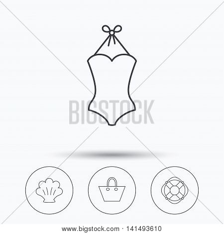 Ladies handbag, shell and swimsuit icons. Lifebuoy linear sign. Linear icons in circle buttons. Flat web symbols. Vector