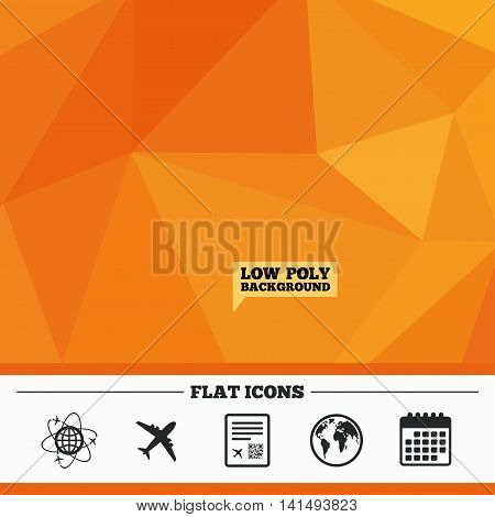 Triangular low poly orange background. Airplane icons. World globe symbol. Boarding pass flight sign. Airport ticket with QR code. Calendar flat icon. Vector