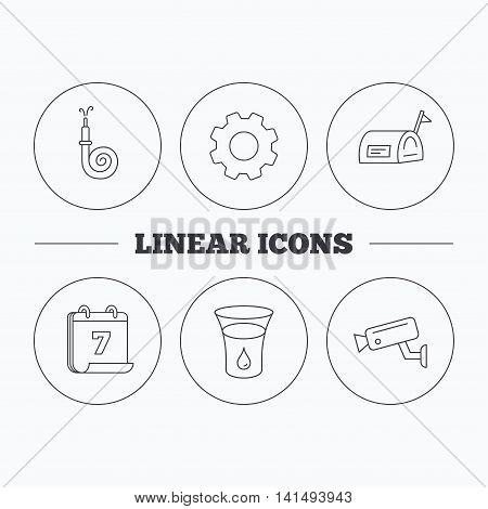 Mailbox, video monitoring and fire hose icons. Glass of water linear sign. Flat cogwheel and calendar symbols. Linear icons in circle buttons. Vector