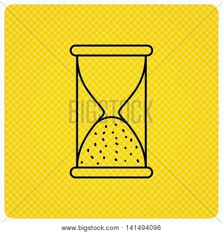 Hourglass icon. Sand end time sign. Hour ends symbol. Linear icon on orange background. Vector