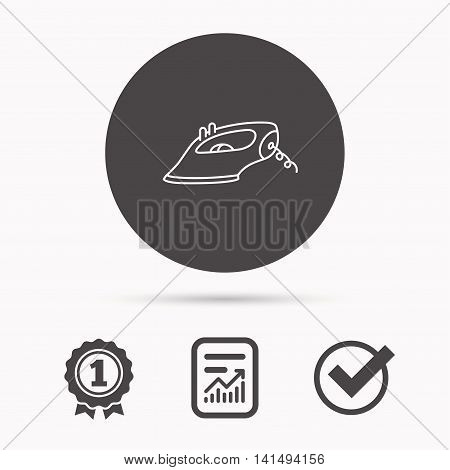 Iron icon. Ironing housework sign. Laundry service symbol. Report document, winner award and tick. Round circle button with icon. Vector