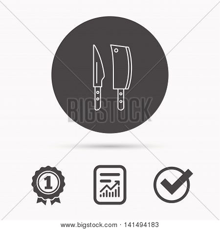 Butcher and kitchen knives icon. Chef tools symbol. Report document, winner award and tick. Round circle button with icon. Vector