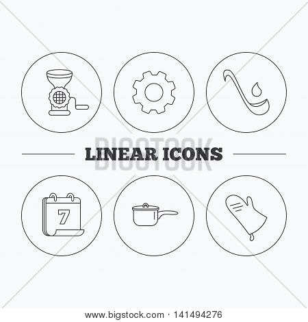 Soup ladle, potholder and kitchen utensils icons. Meat grinder and saucepan linear signs. Flat cogwheel and calendar symbols. Linear icons in circle buttons. Vector