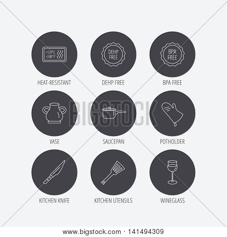Saucepan, potholder and wineglass icons. Kitchen knife, utensils and vase linear signs. Heat-resistant, BPA, DEHP free icons. Linear icons in circle buttons. Flat web symbols. Vector