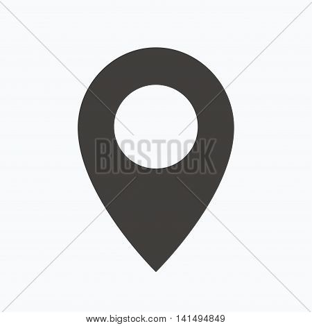 Location icon. Map pointer symbol. Gray flat web icon on white background. Vector