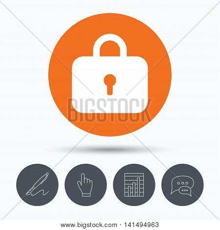 Lock icon. Privacy locker sign. Closed access symbol. Speech bubbles. Pen, hand click and chart. Orange circle button with icon. Vector