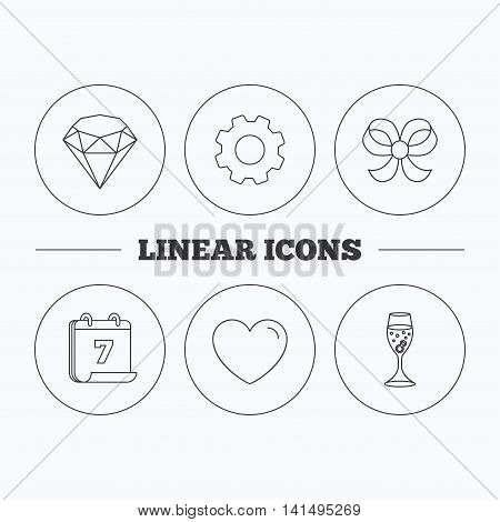 Love heart, brilliant and engagement ring icons. Bow-knot linear sign. Flat cogwheel and calendar symbols. Linear icons in circle buttons. Vector