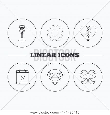 Broken heart, brilliant and engagement ring icons. Bow-knot linear sign. Flat cogwheel and calendar symbols. Linear icons in circle buttons. Vector