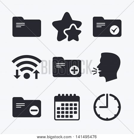 Accounting binders icons. Add or remove document folder symbol. Bookkeeping management with checkbox. Wifi internet, favorite stars, calendar and clock. Talking head. Vector