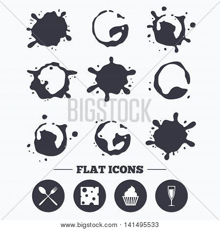 Paint, coffee or milk splash blots. Food icons. Muffin cupcake symbol. Fork and spoon sign. Glass of champagne or wine. Slice of cheese. Smudges splashes drops. Vector