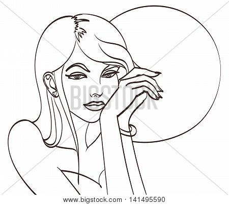 Very beautiful cartoon woman in pop art style. Lineart isolated vector eps 10