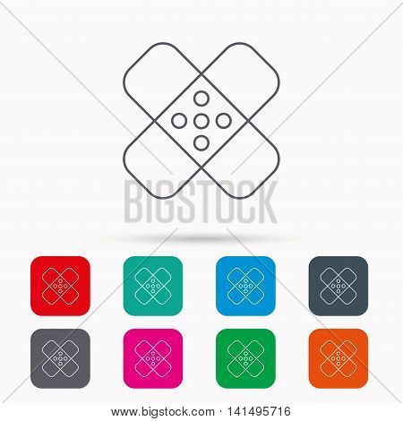 Medical plaster icon. Injury fix sign. Linear icons in squares on white background. Flat web symbols. Vector
