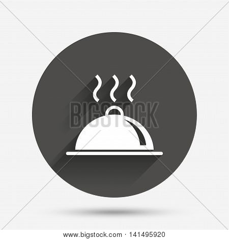 Food platter serving sign icon. Table setting in restaurant symbol. Hot warm meal. Circle flat button with shadow. Vector